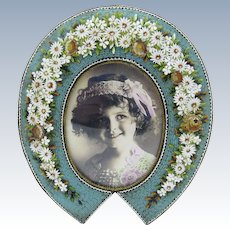 Antique Micro Mosaic Large Picture Photo Frame, Turquoise with Raised Flowers