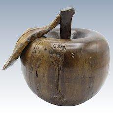 Antique Solid Wood Hand Carved Apple, Leaf