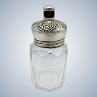 Antique Talc Dresser Jar, Vanity, Interesting Sterling Top, Twist Opening