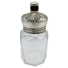 Antique Talc Dresser Jar, Vanity, Interesting Sterling Top, Twist Opening