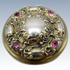 Antique Sterling and Deep Pink Stones Pill Box