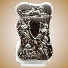 Antique Sterling Cherub Wishbone, Angels, Match Safe, Vesta Matchsafe