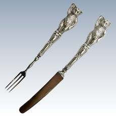 Antique Child, Children's Youth Sterling Teddy Bear Fork and Knife