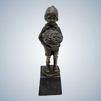 Antique Bronze Young Boy Holding Large Bouquet of Flowers, Artist Signed