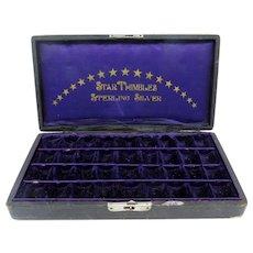 Antique Star Thimbles Sterling Silver Thimble Case