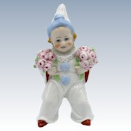 Antique Germany Pierrot Clown with Flowers Figure