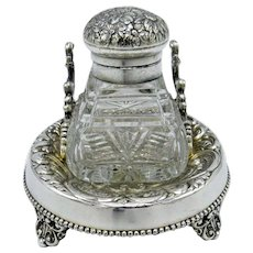Antique Webster Silver Plate and Glass Inkwell, Ink Well and Pen Holder