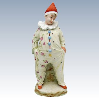 Antique Heubach Clown Bisque Figure