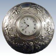 Antique Sterling Clock With Cherubs, Butterfly, Birds, Garland, London, 1888