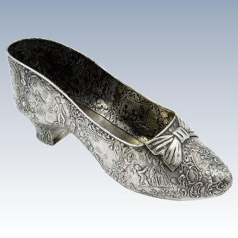 Antique Beautiful Sterling Shoe with Large Bow, EXTRA LARGE RARE SIZE!