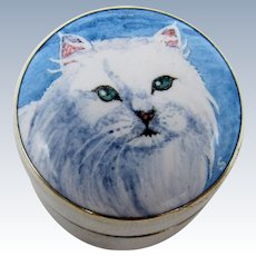 Vintage Silver and Enamel Cat Box, Great for Pills