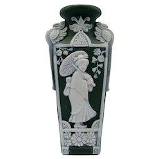 Antique Green Jasperware Vase with Geisha Girl