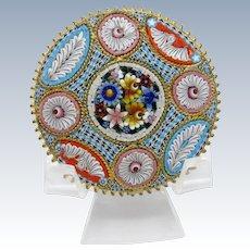 Antique Italian Micro Mosaic Large Pin Brooch