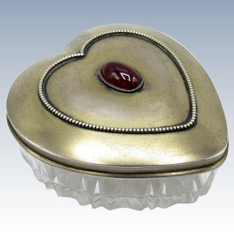 Antique Gorham Sterling and Cut Glass Heart Shaped Dresser Jar Box w Cabochon Stone