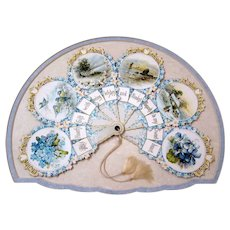 Antique C1900 Paper Fan Valentine Framed Acid Free Mounting, Flowers, Birds