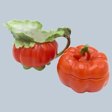 Antique Royal Bayreuth Tomato Creamer and Covered Sugar Bowl