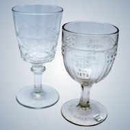 Antique 1876 Centennial Goblets, One with Flag, July 4th 1876, EAPG