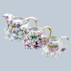 Antique Grapes, Set of THREE, Water, Milk, Creamer, Pitchers Royal Bayreuth