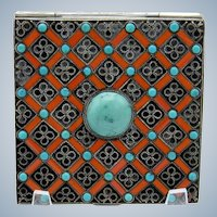 Antique Enamel and Turquoise Silver Compact