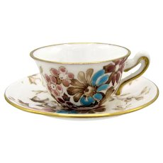 Crown Staffordshire Miniature Cup and Saucer, Hand Painted Enamel