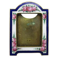 Antique Brass and Enamel Picture Photo Frame, Czechoslovakian Miniature Frame