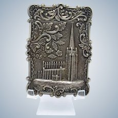 Antique Sterling Castle Top Card Case Trinity Church Wall St. C-1860-1880