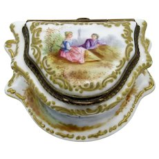 Antique German Porcelain Ladies Vanity Box with Bronze Mounts, Romantic Scene