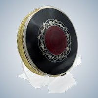 Antique Austrian Black and Red Enamel Deco Compact