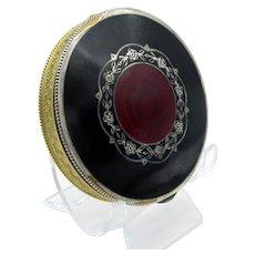 Antique Austrian Black and Red Enamel Deco Compact