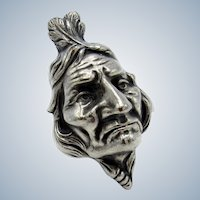 Antique LARGE Silver Indian Head, Feathers, Pin, Brooch