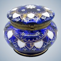 Antique Large Deep Cobalt Blue Dresser Jar, Enamel Painting, Hinged