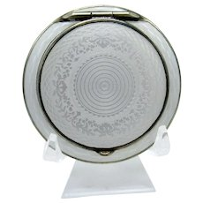 Antique Sterling 800 Silver White Guilloche Enamel Compact