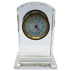 Antique Enamel and Glass Small Desk Clock, Runs Great!