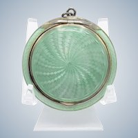 Antique Sterling & Enamel Soft Green Compact, Chatelaine Ring