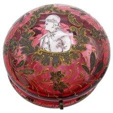 Antique Cranberry Dresser Jar with Mary Gregory Figure Jockey Cap