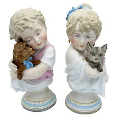 Antique Pair of KPM Bisque Children Holding Kitty Cat and Dog