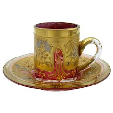 Antique Cranberry and Gold Mini Cup and Saucer, Moser Style
