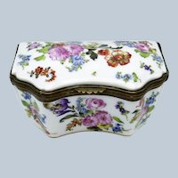 Antique French Hand Painted Porcelain Box, C-1820 Meclaus, Bourdois & Bloch