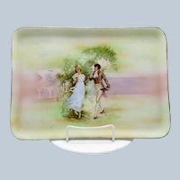 Antique Royal Bayreuth Tapestry Dresser Tray with Couple Dancing