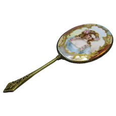 Antique Hand Painted Porcelain and Bronze Dresser Hand Mirror, Beveled