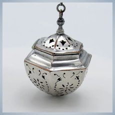 Antique Tea Ball Tea Strainer English Silver over Copper, Hinged Lid, Chain
