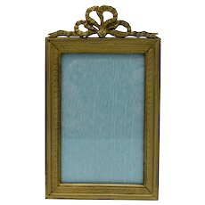 Antique French Bronze Picture Photo Frame with Bow Top and Wreath Decoration