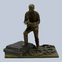 Antique Vienna Bronze, Man with Trunks, Tools, EB, 1874