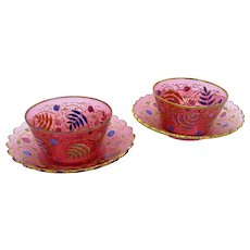 Antique Pair of Cranberry Moser Style Bowls and Underplates, Cup and Saucers