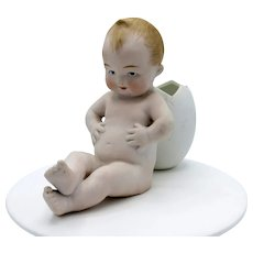 Antique German Bisque Heubach Chubby Baby with Egg