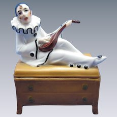 Antique Porcelain Dresser Vanity Powder Box with Pierrot Figure