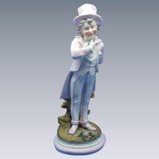 Antique Boy Figurine Holding Flowers, German Bisque