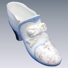 Vintage German Bisque Decorated Beaded Shoe