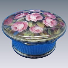 Antique Sterling and Enamel Basket of Roses, AMAZING!