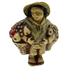 Antique Man with Baskets of Fruit Celluloid Tape Measure